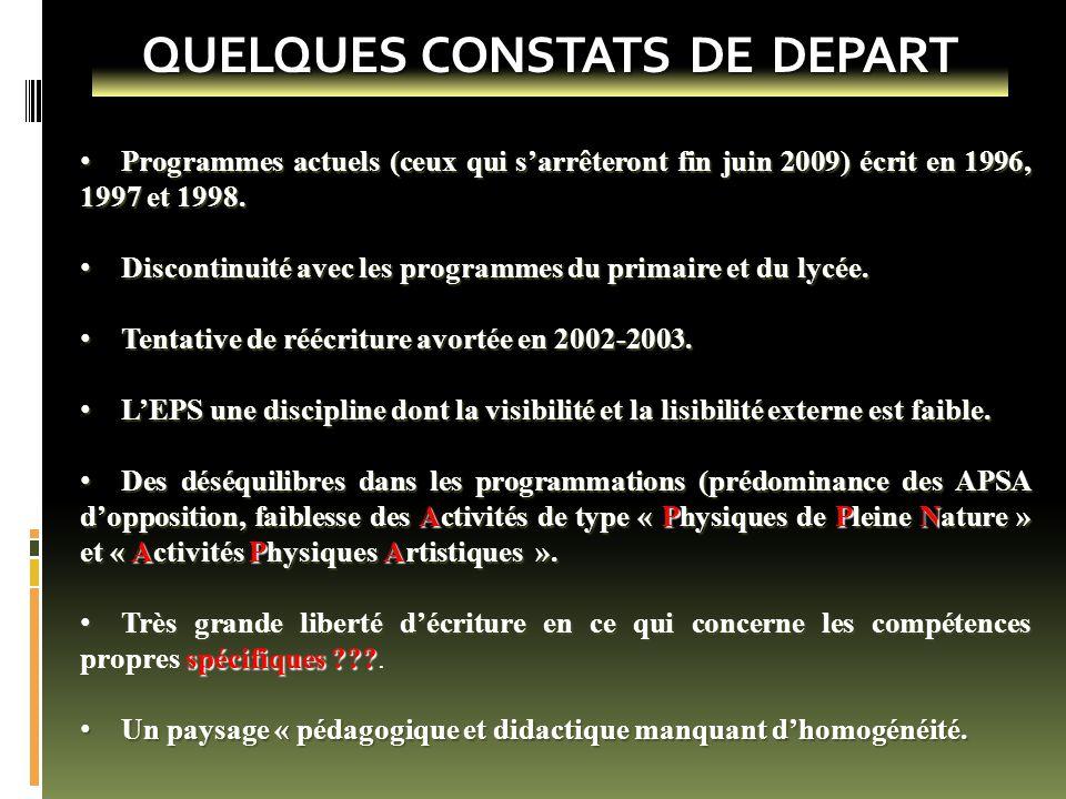 QUELQUES CONSTATS DE DEPART Programmes actuels (ceux qui s'arrêteront fin juin 2009) écrit en 1996, 1997 et 1998. Programmes actuels (ceux qui s'arrêt