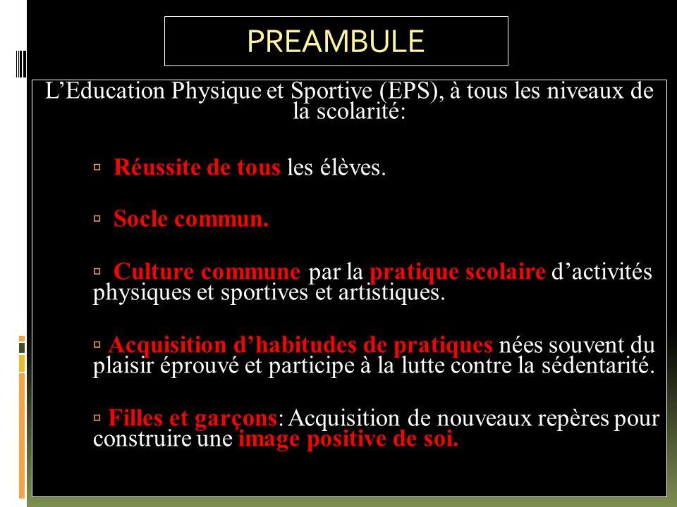 PREAMBULE L'Education Physique et Sportive (EPS), à tous les niveaux de la scolarité: éussite de tous  Réussite de tous les élèves.  Socle commun. u