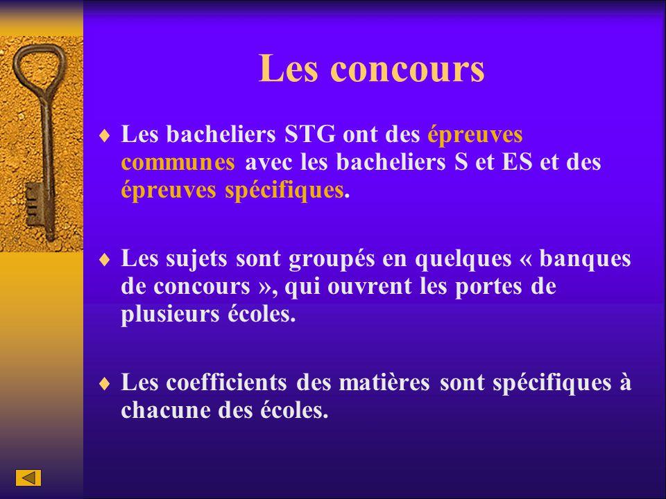 Les concours  Les bacheliers STG ont des épreuves communes avec les bacheliers S et ES et des épreuves spécifiques.  Les sujets sont groupés en quel