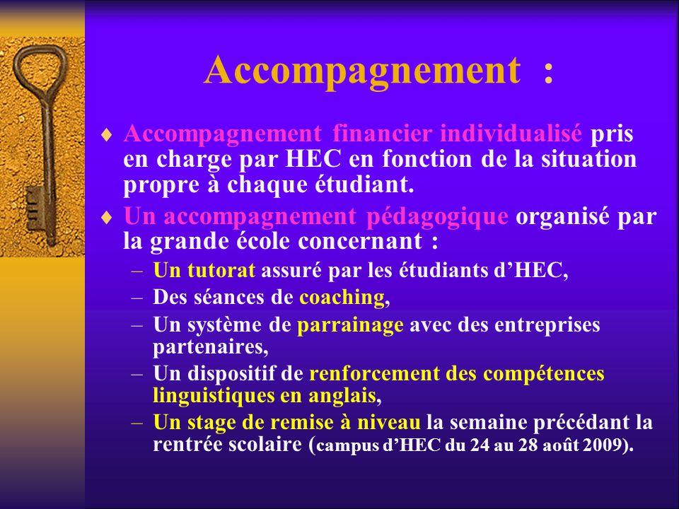 Accompagnement :  Accompagnement financier individualisé pris en charge par HEC en fonction de la situation propre à chaque étudiant.  Un accompagne