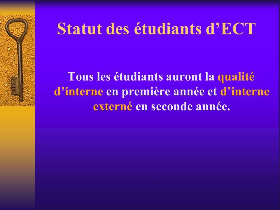 Statut des étudiants d'ECT Tous les étudiants auront la qualité d'interne en première année et d'interne externé en seconde année.