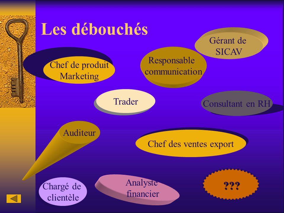 Les débouchés Chef de produit Marketing Auditeur Responsable communication Analyste financier Gérant de SICAV Chef des ventes export Trader Consultant