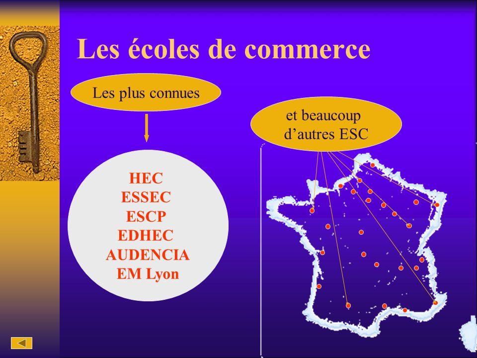 Les écoles de commerce HEC ESSEC ESCP EDHEC AUDENCIA EM Lyon et beaucoup d'autres ESC Les plus connues