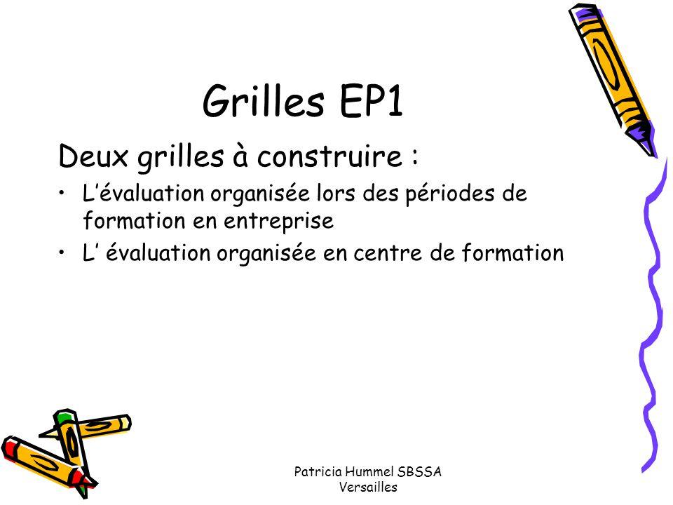 Patricia Hummel SBSSA Versailles Grilles EP1 Deux grilles à construire : L'évaluation organisée lors des périodes de formation en entreprise L' évalua