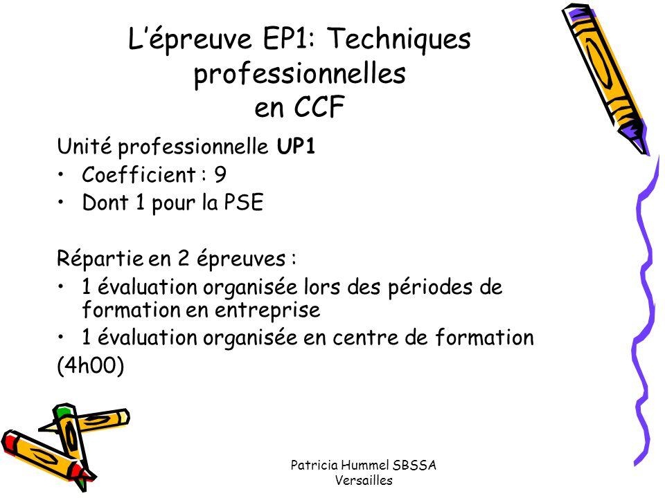 Patricia Hummel SBSSA Versailles L'épreuve EP1: Techniques professionnelles en CCF Unité professionnelle UP1 Coefficient : 9 Dont 1 pour la PSE Répart