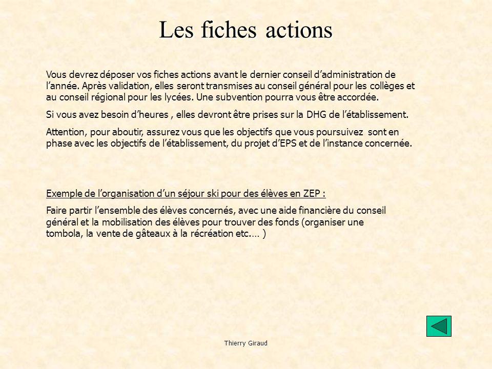 Thierry Giraud Les fiches actions Vous devrez déposer vos fiches actions avant le dernier conseil d'administration de l'année.