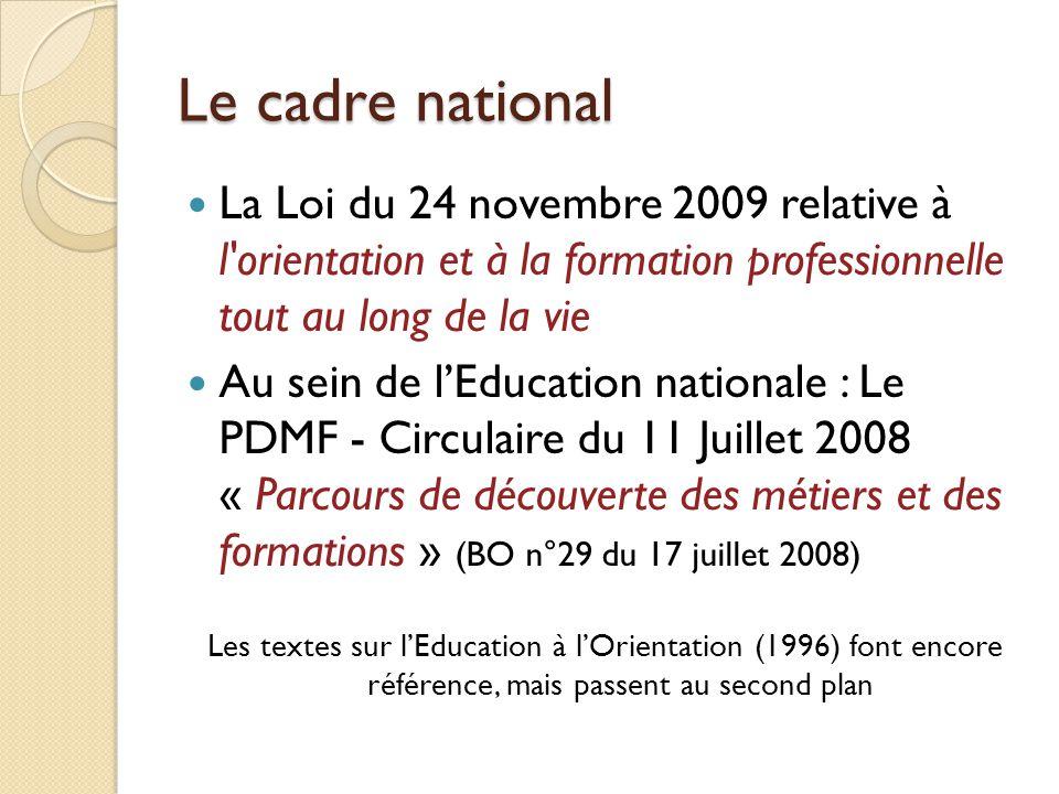 Le cadre national La Loi du 24 novembre 2009 relative à l'orientation et à la formation professionnelle tout au long de la vie Au sein de l'Education