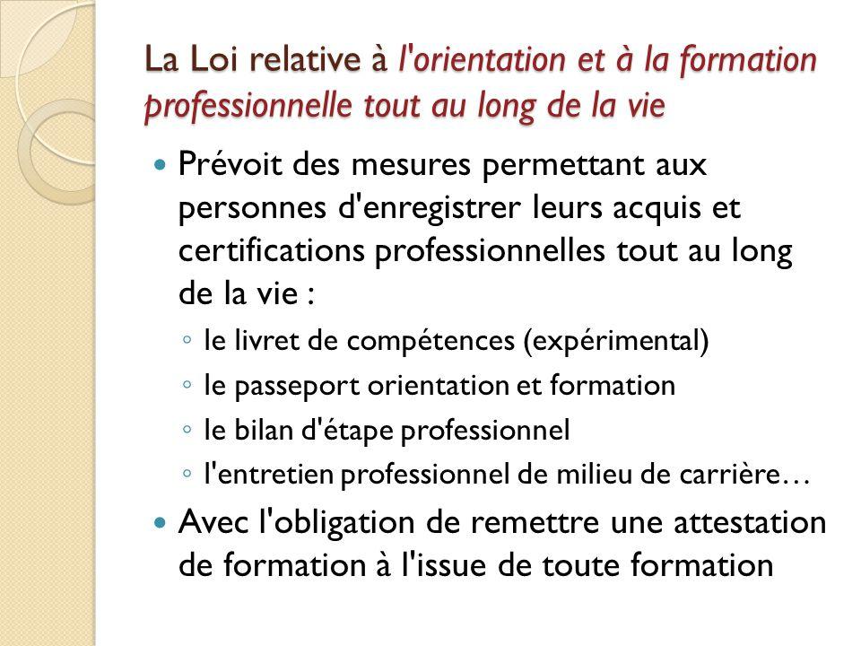 La Loi relative à l'orientation et à la formation professionnelle tout au long de la vie Prévoit des mesures permettant aux personnes d'enregistrer le
