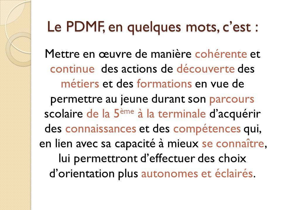 Le PDMF, en quelques mots, c'est : Mettre en œuvre de manière cohérente et continue des actions de découverte des métiers et des formations en vue de