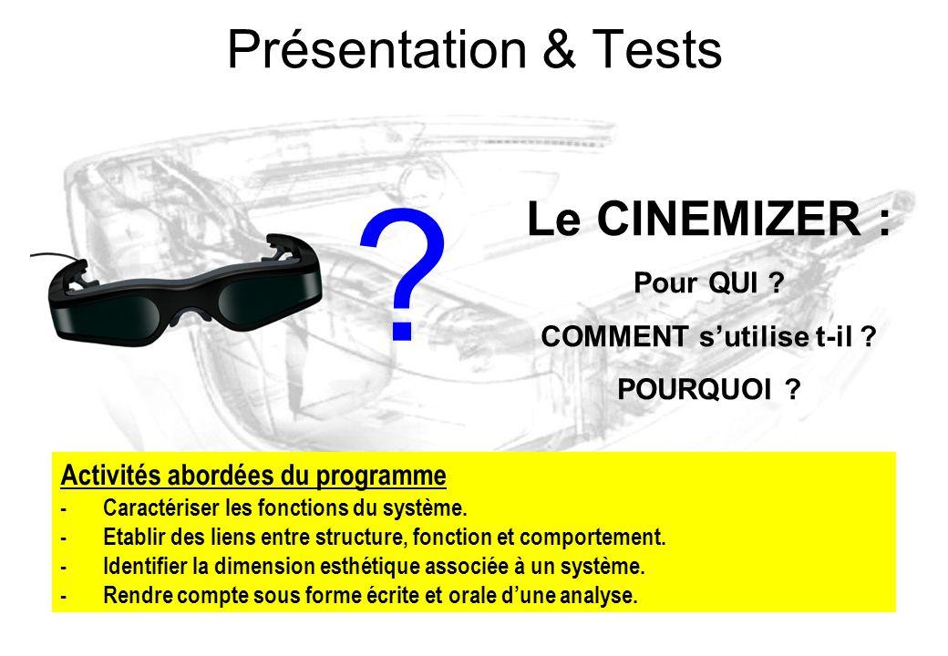 Présentation & Tests ? Le CINEMIZER : Pour QUI ? COMMENT s'utilise t-il ? POURQUOI ? Activités abordées du programme -Caractériser les fonctions du sy