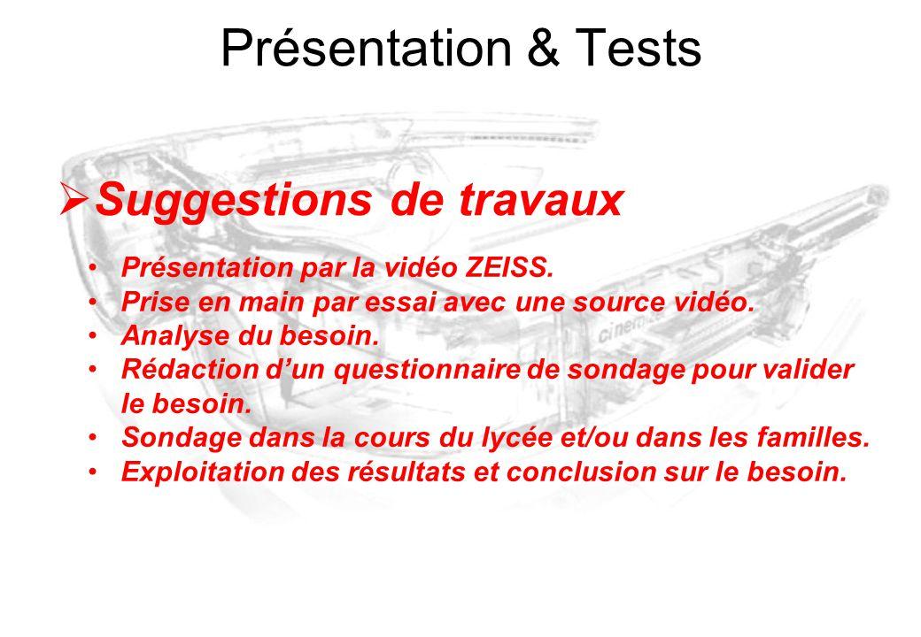 Présentation & Tests  Suggestions de travaux Présentation par la vidéo ZEISS. Prise en main par essai avec une source vidéo. Analyse du besoin. Rédac
