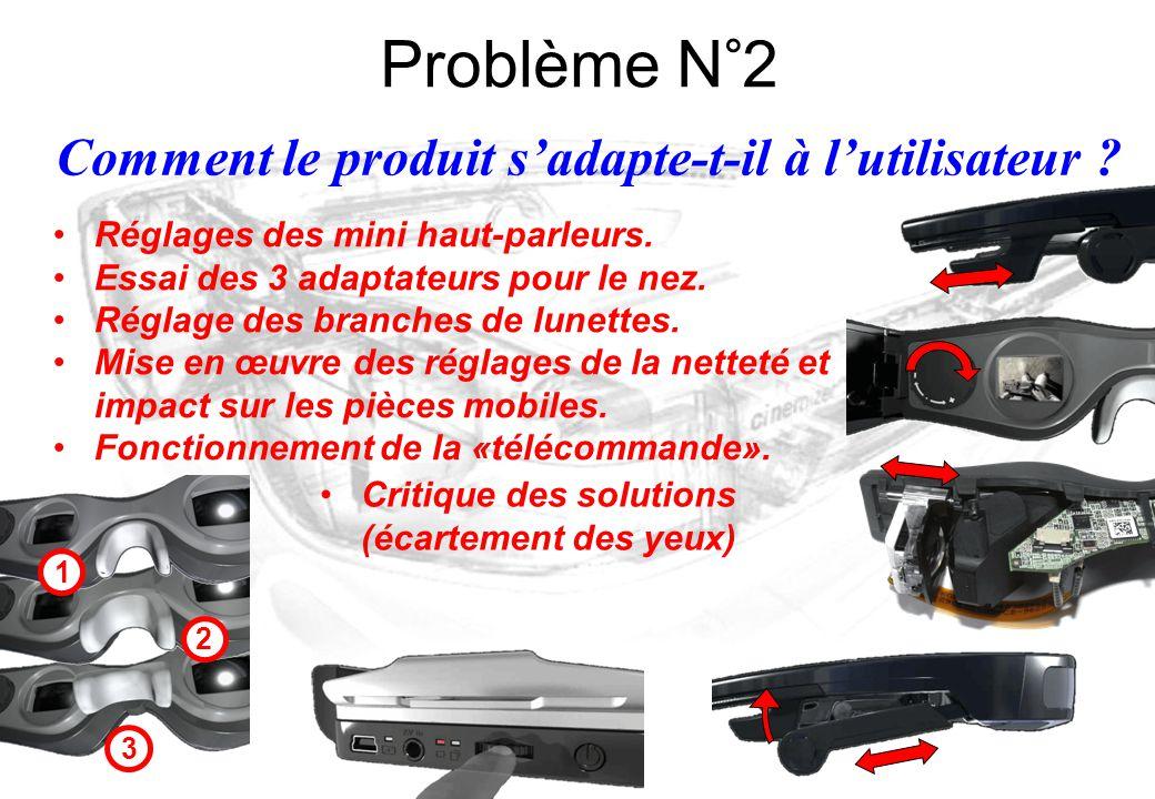 Comment le produit s'adapte-t-il à l'utilisateur ? Problème N°2 Réglages des mini haut-parleurs. Essai des 3 adaptateurs pour le nez. Réglage des bran