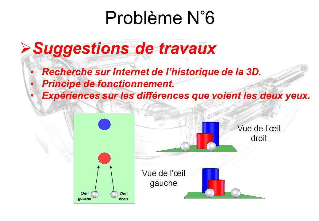 Vue de l'œil droit Vue de l'œil gauche  Suggestions de travaux Recherche sur Internet de l'historique de la 3D. Principe de fonctionnement. Expérienc