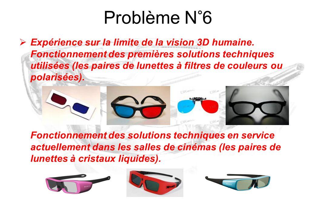  Expérience sur la limite de la vision 3D humaine. Fonctionnement des premières solutions techniques utilisées (les paires de lunettes à filtres de c