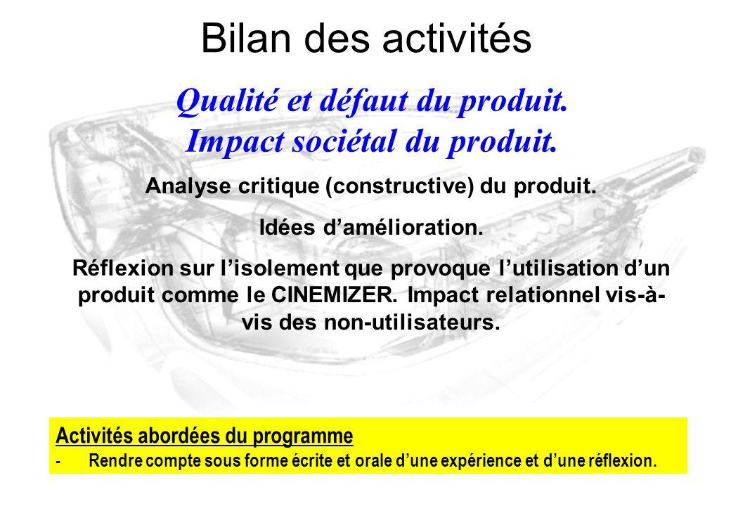 Bilan des activités Qualité et défaut du produit. Impact sociétal du produit. Activités abordées du programme -Rendre compte sous forme écrite et oral