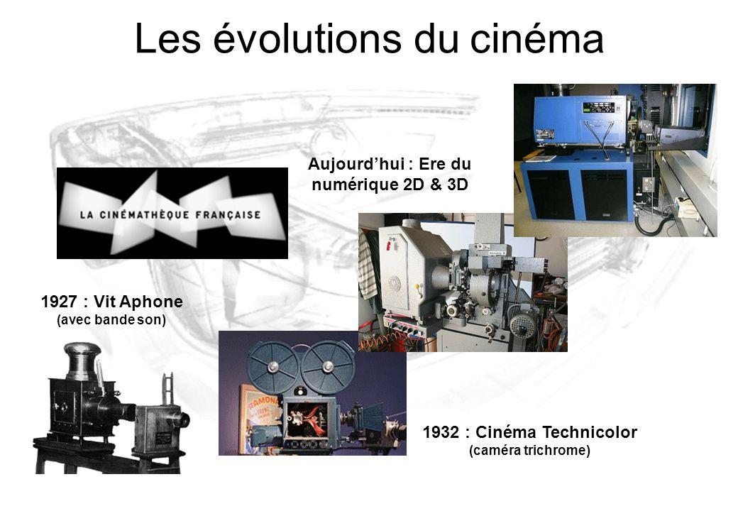 1932 : Cinéma Technicolor (caméra trichrome) Les évolutions du cinéma 1927 : Vit Aphone (avec bande son) Aujourd'hui : Ere du numérique 2D & 3D
