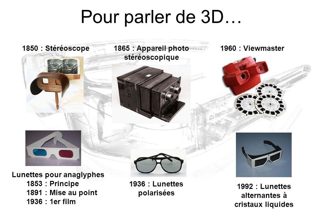Pour parler de 3D… 1850 : Stéréoscope1865 : Appareil photo stéréoscopique 1960 : Viewmaster Lunettes pour anaglyphes 1853 : Principe 1891 : Mise au po