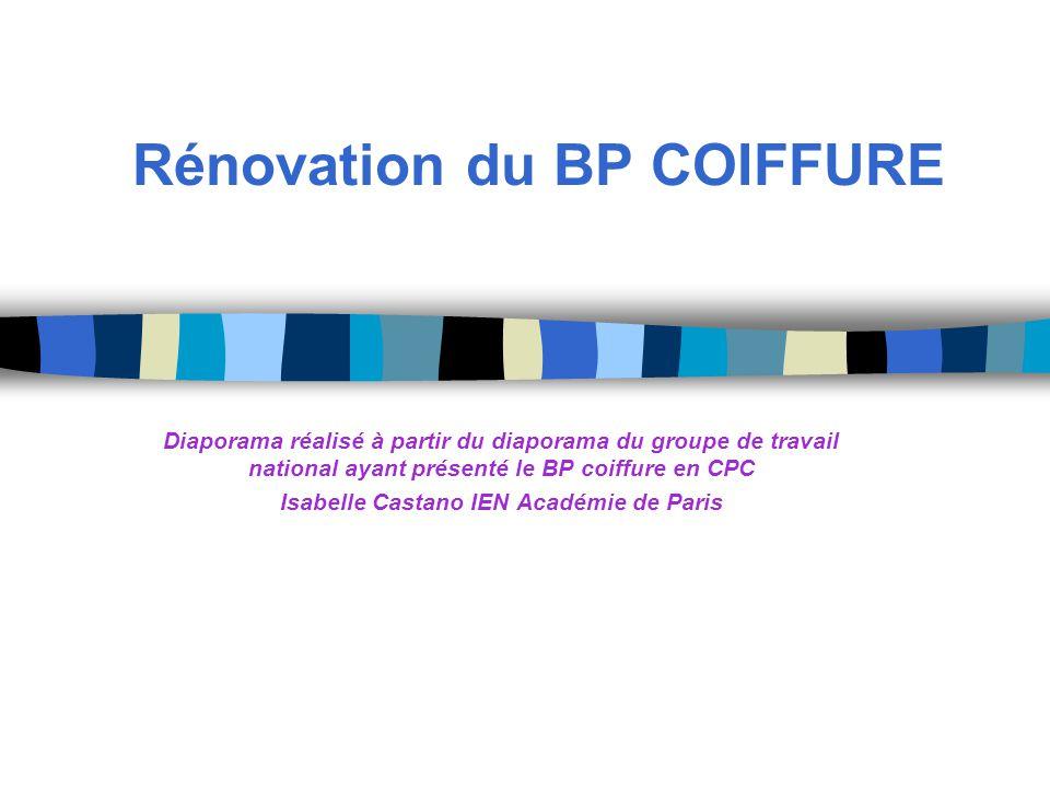 Rénovation du BP COIFFURE Diaporama réalisé à partir du diaporama du groupe de travail national ayant présenté le BP coiffure en CPC Isabelle Castano IEN Académie de Paris