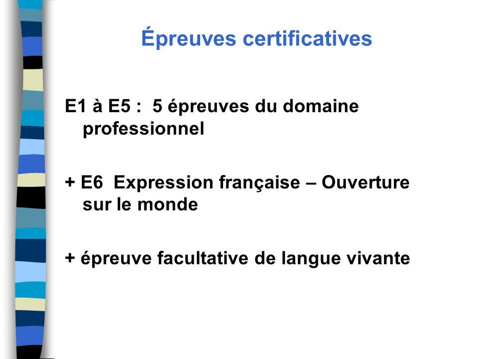 Épreuves certificatives E1 à E5 : 5 épreuves du domaine professionnel + E6 Expression française – Ouverture sur le monde + épreuve facultative de langue vivante