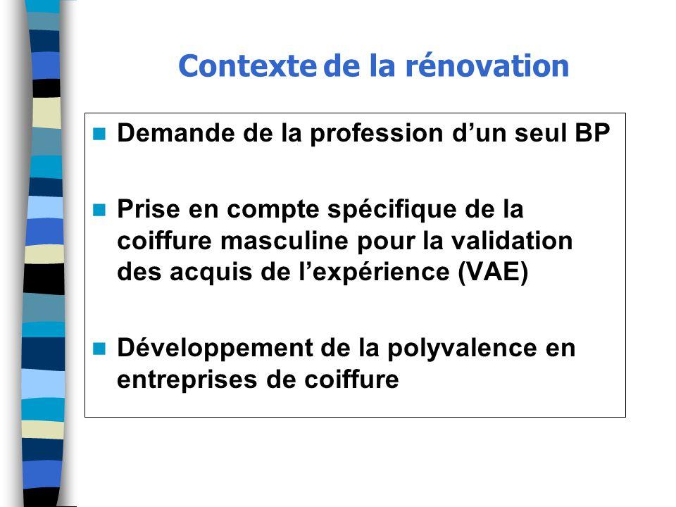 Contexte de la rénovation Demande de la profession d'un seul BP Prise en compte spécifique de la coiffure masculine pour la validation des acquis de l'expérience (VAE) Développement de la polyvalence en entreprises de coiffure