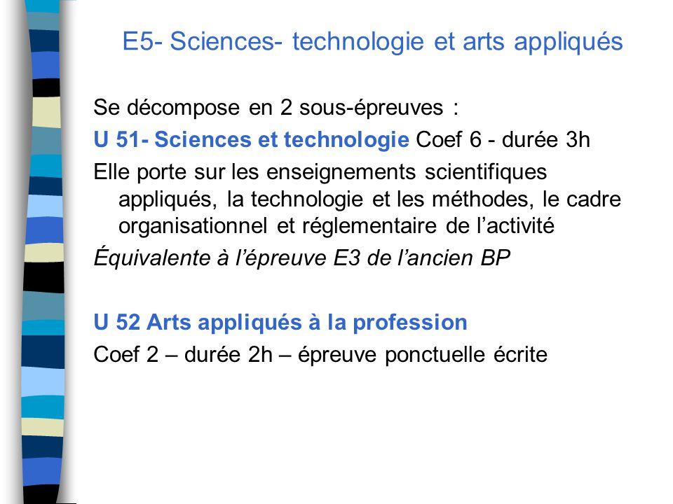 E5- Sciences- technologie et arts appliqués Se décompose en 2 sous-épreuves : U 51- Sciences et technologie Coef 6 - durée 3h Elle porte sur les enseignements scientifiques appliqués, la technologie et les méthodes, le cadre organisationnel et réglementaire de l'activité Équivalente à l'épreuve E3 de l'ancien BP U 52 Arts appliqués à la profession Coef 2 – durée 2h – épreuve ponctuelle écrite