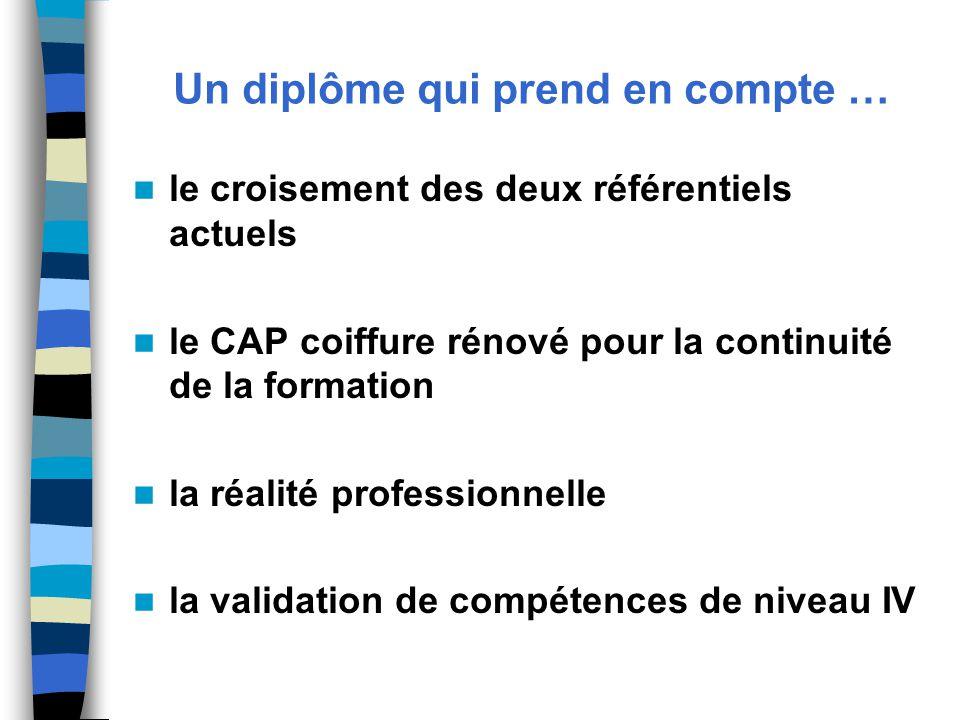 Un diplôme qui prend en compte … le croisement des deux référentiels actuels le CAP coiffure rénové pour la continuité de la formation la réalité professionnelle la validation de compétences de niveau IV