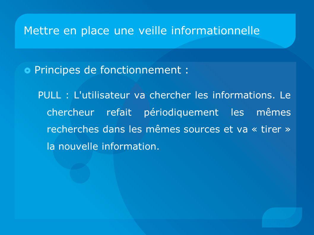 Mettre en place une veille informationnelle  Principes de fonctionnement : PULL : L'utilisateur va chercher les informations. Le chercheur refait pér