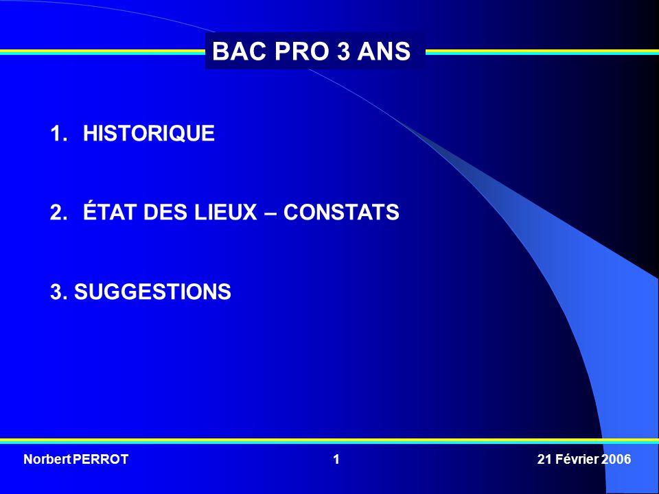 Norbert PERROT 21 Février 20061 BAC PRO 3 ANS 1.HISTORIQUE 2.ÉTAT DES LIEUX – CONSTATS 3. SUGGESTIONS