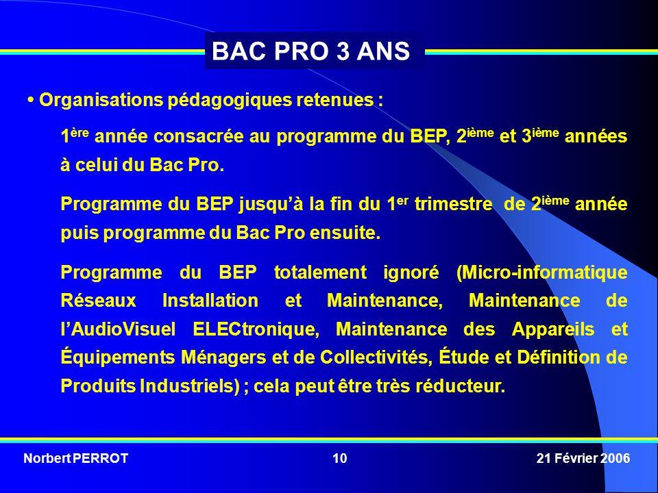 Norbert PERROT 21 Février 200610 BAC PRO 3 ANS Organisations pédagogiques retenues : 1 ère année consacrée au programme du BEP, 2 ième et 3 ième année