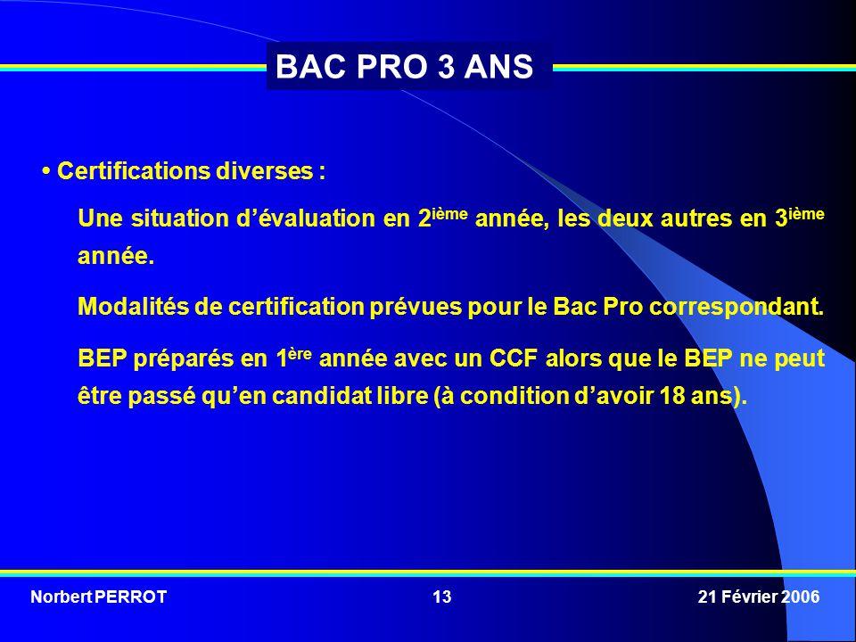 Norbert PERROT 21 Février 200613 BAC PRO 3 ANS Certifications diverses : Une situation d'évaluation en 2 ième année, les deux autres en 3 ième année.