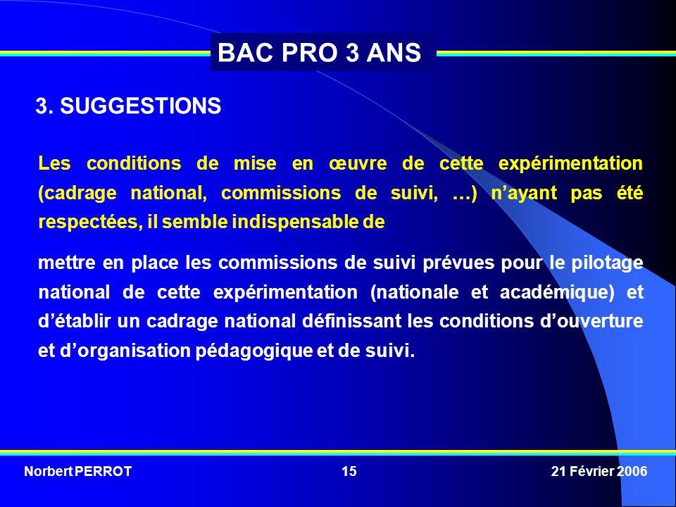 Norbert PERROT 21 Février 200615 BAC PRO 3 ANS 3. SUGGESTIONS Les conditions de mise en œuvre de cette expérimentation (cadrage national, commissions
