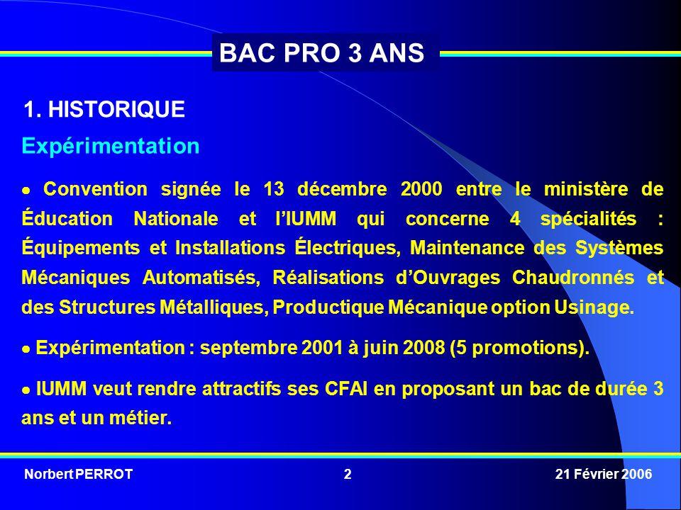 Norbert PERROT 21 Février 20062 BAC PRO 3 ANS Expérimentation  Convention signée le 13 décembre 2000 entre le ministère de Éducation Nationale et l'I