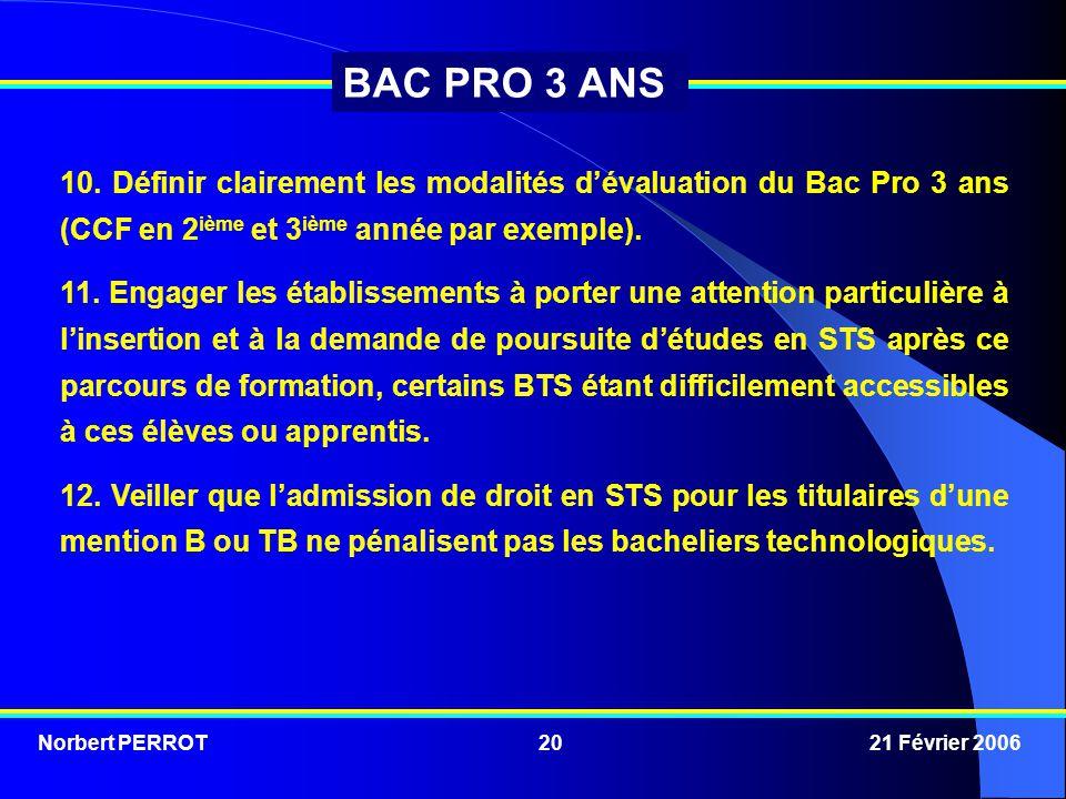 Norbert PERROT 21 Février 200620 BAC PRO 3 ANS 10. Définir clairement les modalités d'évaluation du Bac Pro 3 ans (CCF en 2 ième et 3 ième année par e