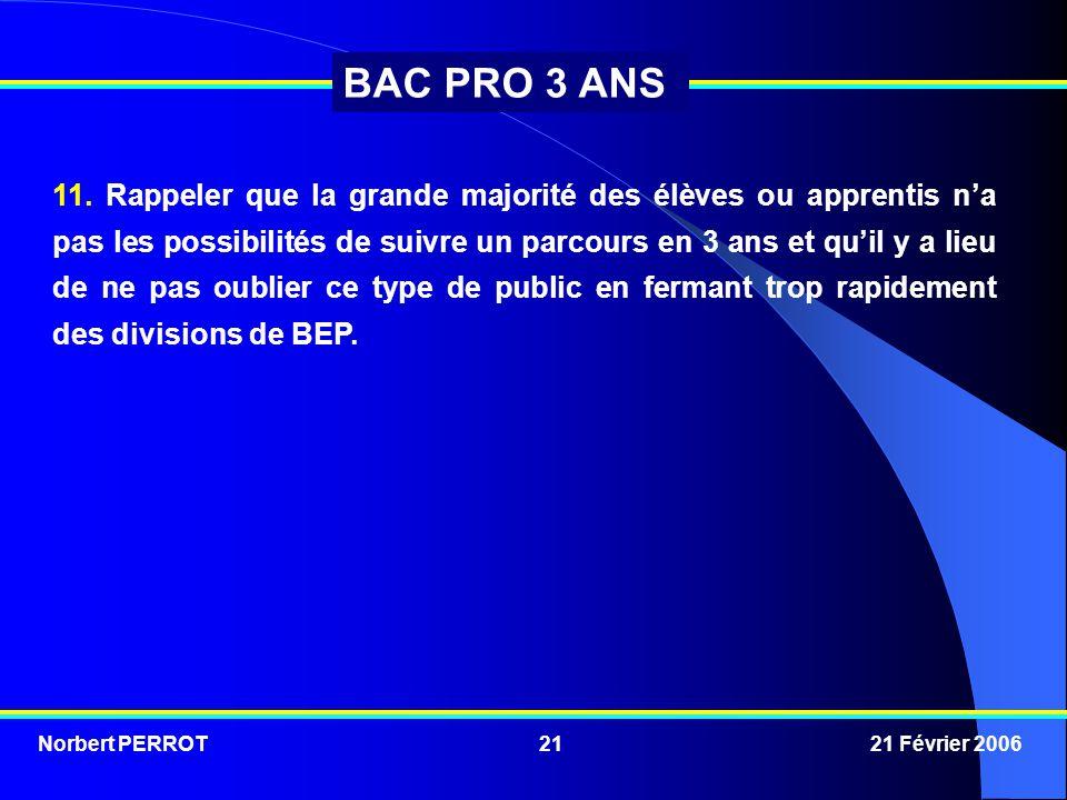 Norbert PERROT 21 Février 200621 BAC PRO 3 ANS 11. Rappeler que la grande majorité des élèves ou apprentis n'a pas les possibilités de suivre un parco