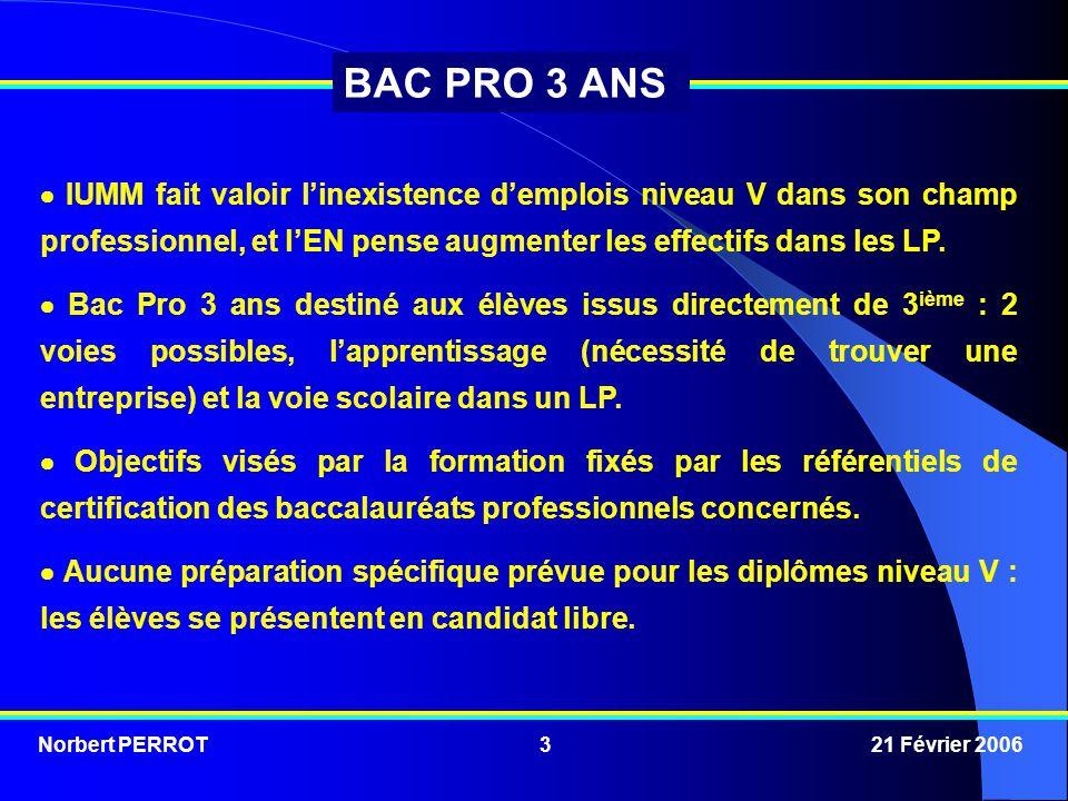 Norbert PERROT 21 Février 20063 BAC PRO 3 ANS  IUMM fait valoir l'inexistence d'emplois niveau V dans son champ professionnel, et l'EN pense augmente
