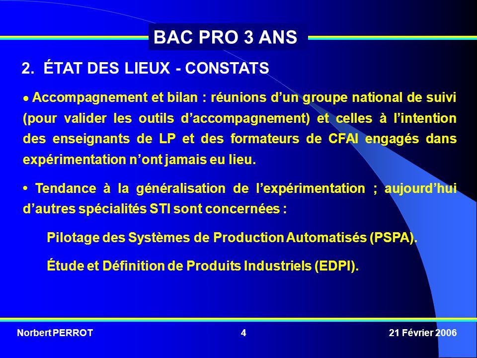Norbert PERROT 21 Février 20064 BAC PRO 3 ANS  Accompagnement et bilan : réunions d'un groupe national de suivi (pour valider les outils d'accompagne