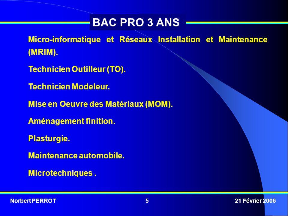 Norbert PERROT 21 Février 20065 BAC PRO 3 ANS Micro-informatique et Réseaux Installation et Maintenance (MRIM). Technicien Outilleur (TO). Technicien