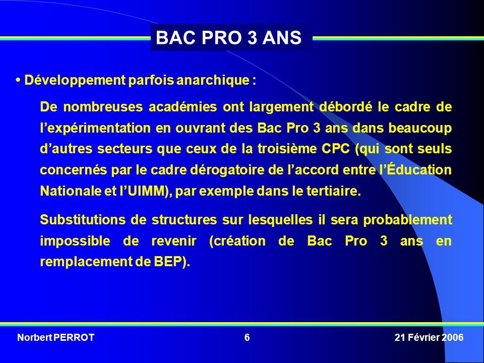Norbert PERROT 21 Février 20066 BAC PRO 3 ANS Développement parfois anarchique : De nombreuses académies ont largement débordé le cadre de l'expérimen