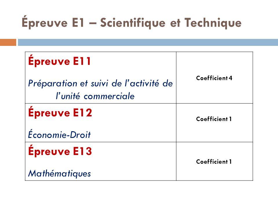 Épreuve E1 – Scientifique et Technique Épreuve E11 Préparation et suivi de l'activité de l'unité commerciale Coefficient 4 Épreuve E12 Économie-Droit Coefficient 1 Épreuve E13 Mathématiques Coefficient 1