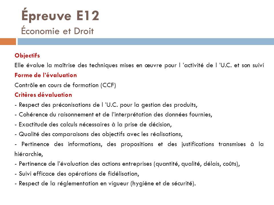 Épreuve E12 Économie et Droit Objectifs Elle évalue la maîtrise des techniques mises en œuvre pour l 'activité de l 'U.C. et son suivi Forme de l'éval