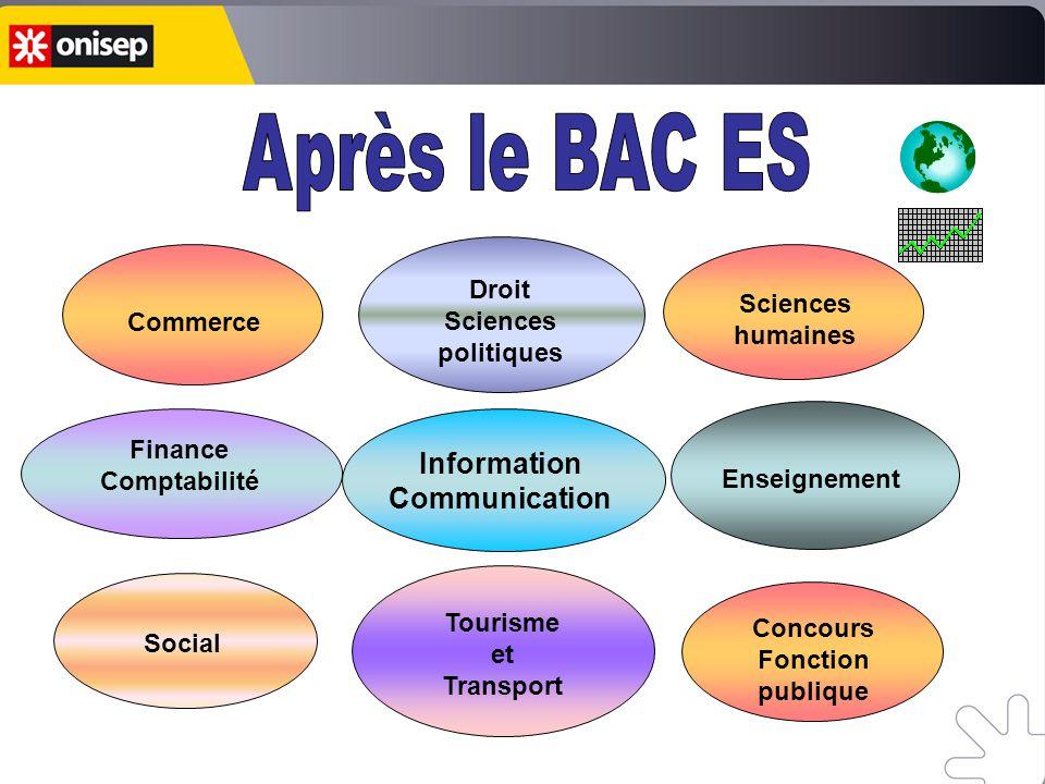 Tourisme et Transport Droit Sciences politiques Finance Comptabilité Information Communication Commerce Social Enseignement Concours Fonction publique Sciences humaines