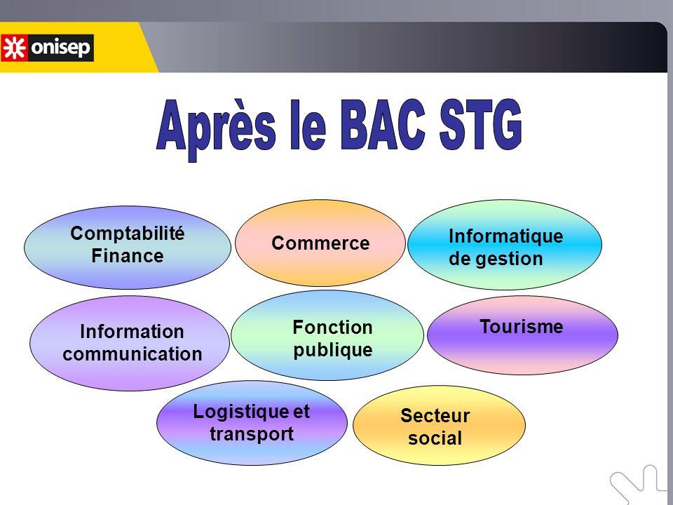 Comptabilité Finance Informatique de gestion Tourisme Secteur social Logistique et transport Information communication Commerce Fonction publique