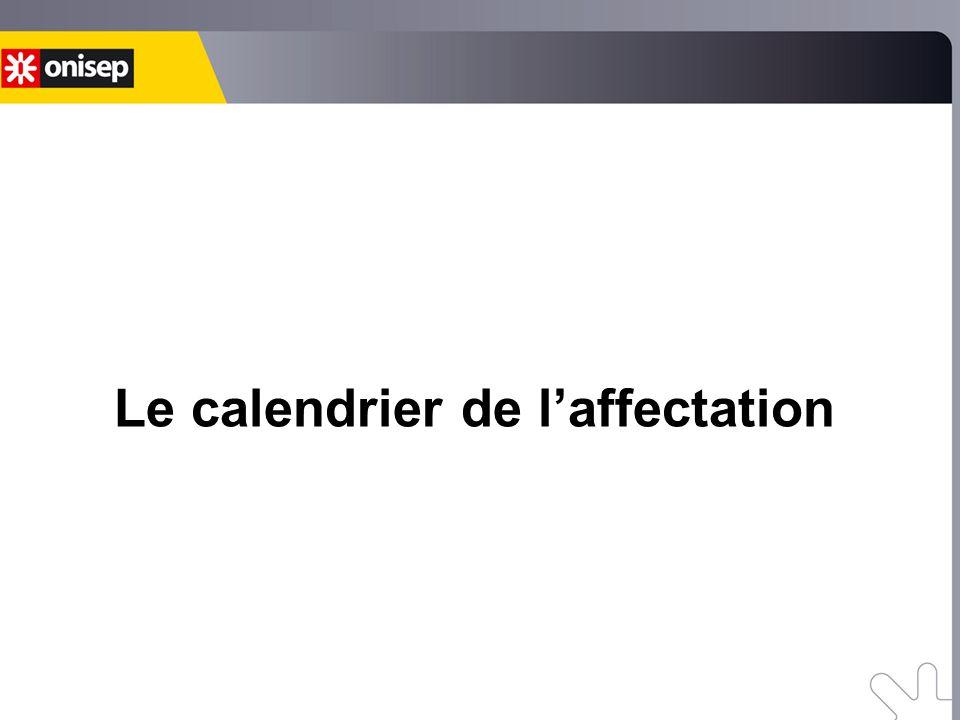 Le calendrier de l'affectation