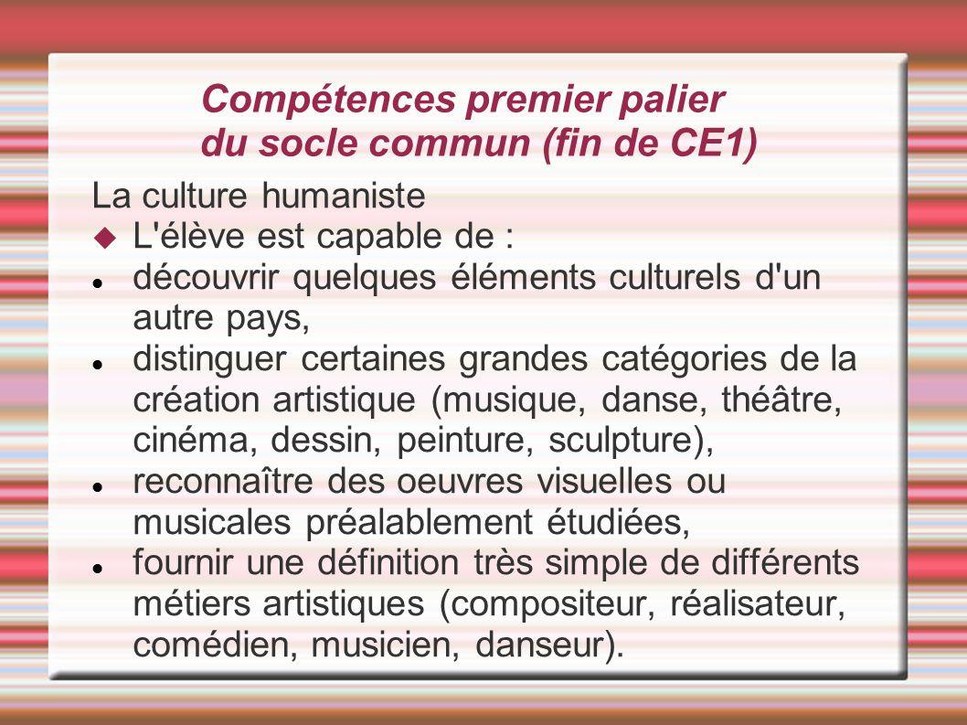 Compétences premier palier du socle commun (fin de CE1) La culture humaniste  L'élève est capable de : découvrir quelques éléments culturels d'un aut