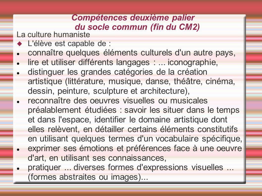 Compétences deuxième palier du socle commun (fin du CM2) La culture humaniste  L'élève est capable de : connaître quelques éléments culturels d'un a