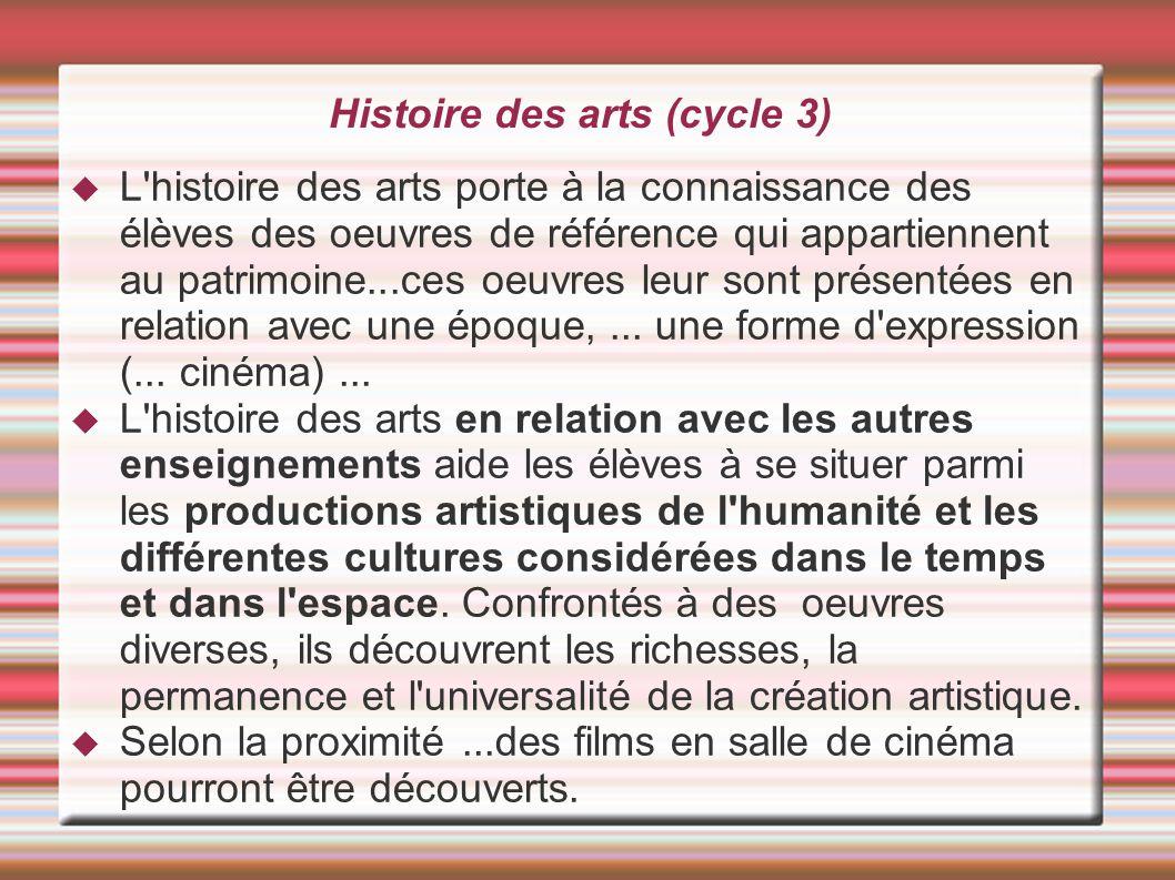 Histoire des arts (cycle 3)  L'histoire des arts porte à la connaissance des élèves des oeuvres de référence qui appartiennent au patrimoine...ces o