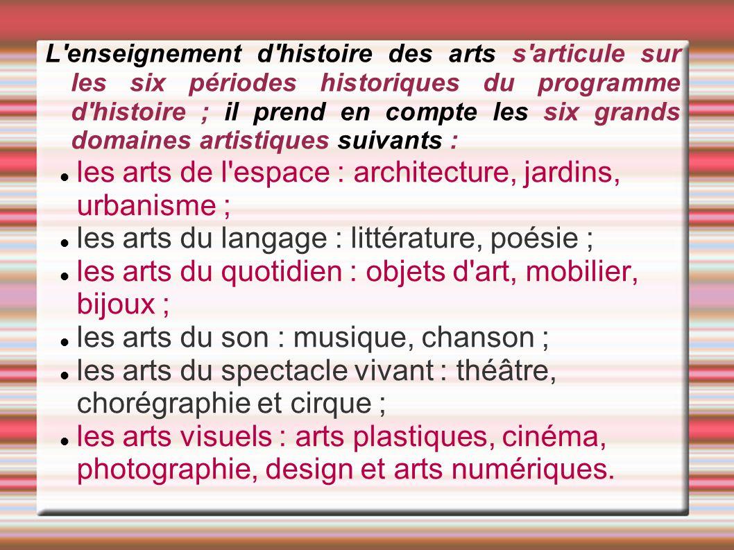 L'enseignement d'histoire des arts s'articule sur les six périodes historiques du programme d'histoire ; il prend en compte les six grands domaines ar