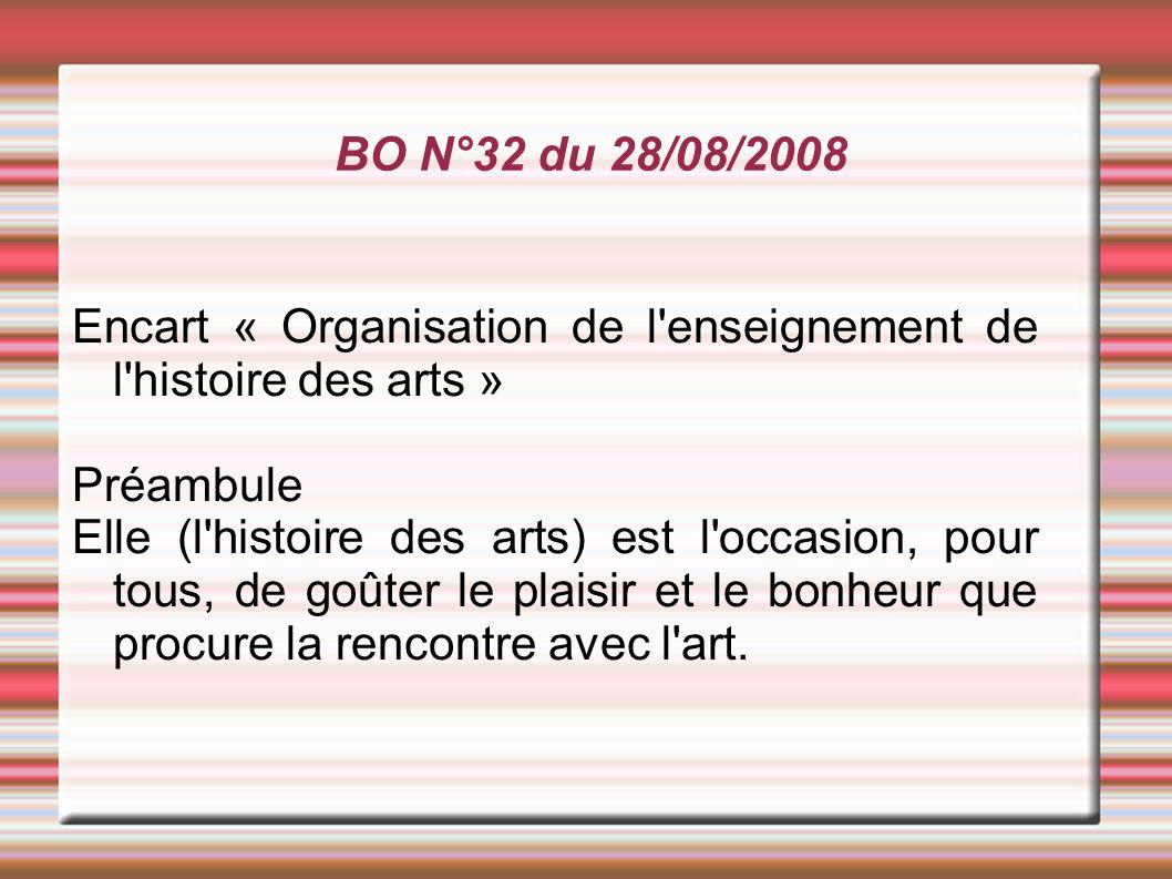 BO N°32 du 28/08/2008 Encart « Organisation de l'enseignement de l'histoire des arts » Préambule Elle (l'histoire des arts) est l'occasion, pour tous,