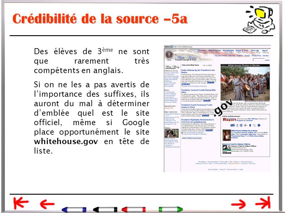 Crédibilité de la source –5a Des élèves de 3 ème ne sont que rarement très compétents en anglais.