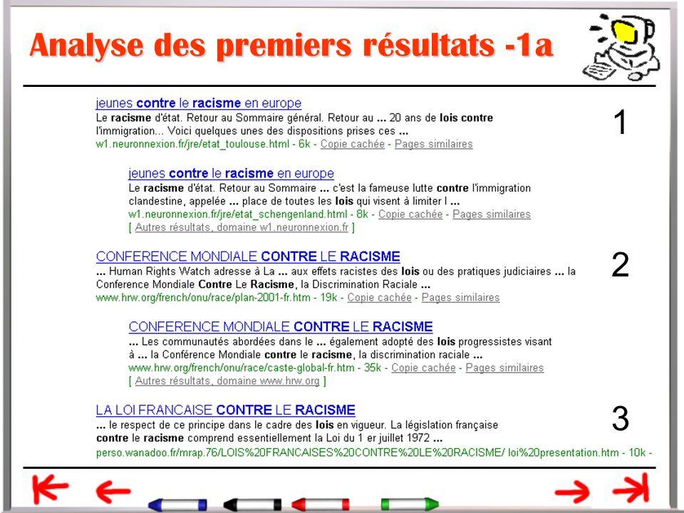 Analyse des premiers résultats -1a 1 2 3